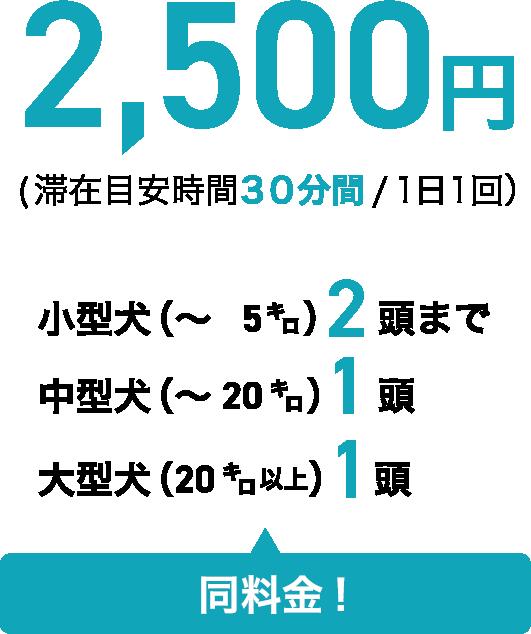 2,500円(滞在目安時間 30分間/1日1回) 小型犬(~5㌔)2頭まで 中型犬(~20㌔)1頭 大型犬(20㌔以上)1頭 同料金!